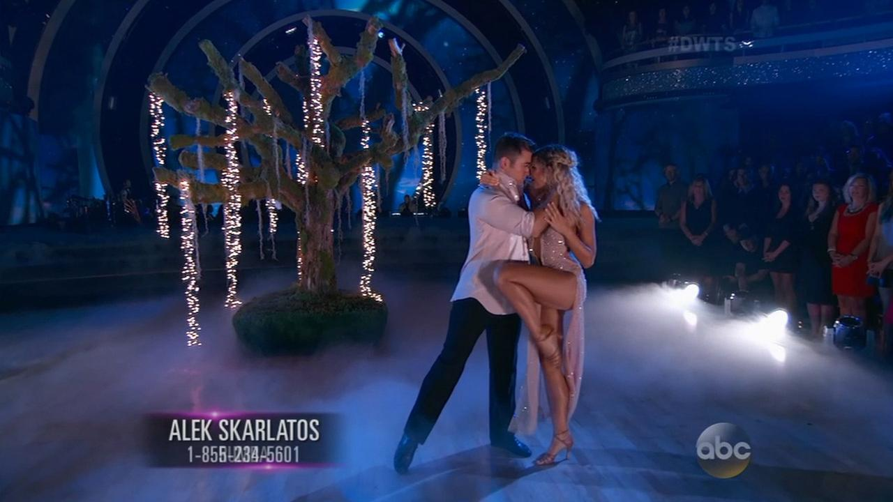Alek Skarlatos and pro Emma Slater dance a sultry Rumba during Week 5 of Dancing With the Stars on Monday, Oct. 12, 2015.