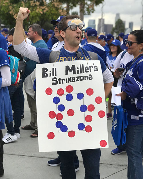 <div class='meta'><div class='origin-logo' data-origin='KABC'></div><span class='caption-text' data-credit='Curt Sandoval/KABC'>One Dodgers fan's costume comments on the umpiring in Game 5 of the World Series.</span></div>