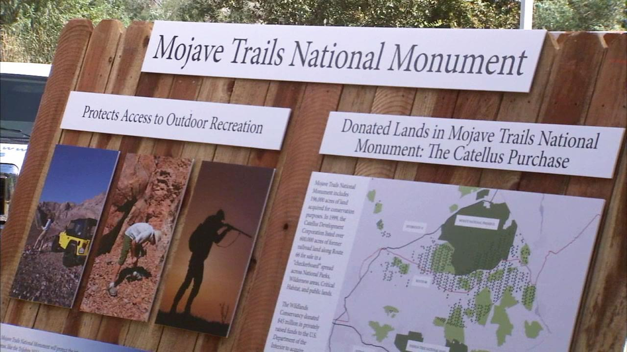A placard shows information about a proposed monument called Mojave Trails National Monument.