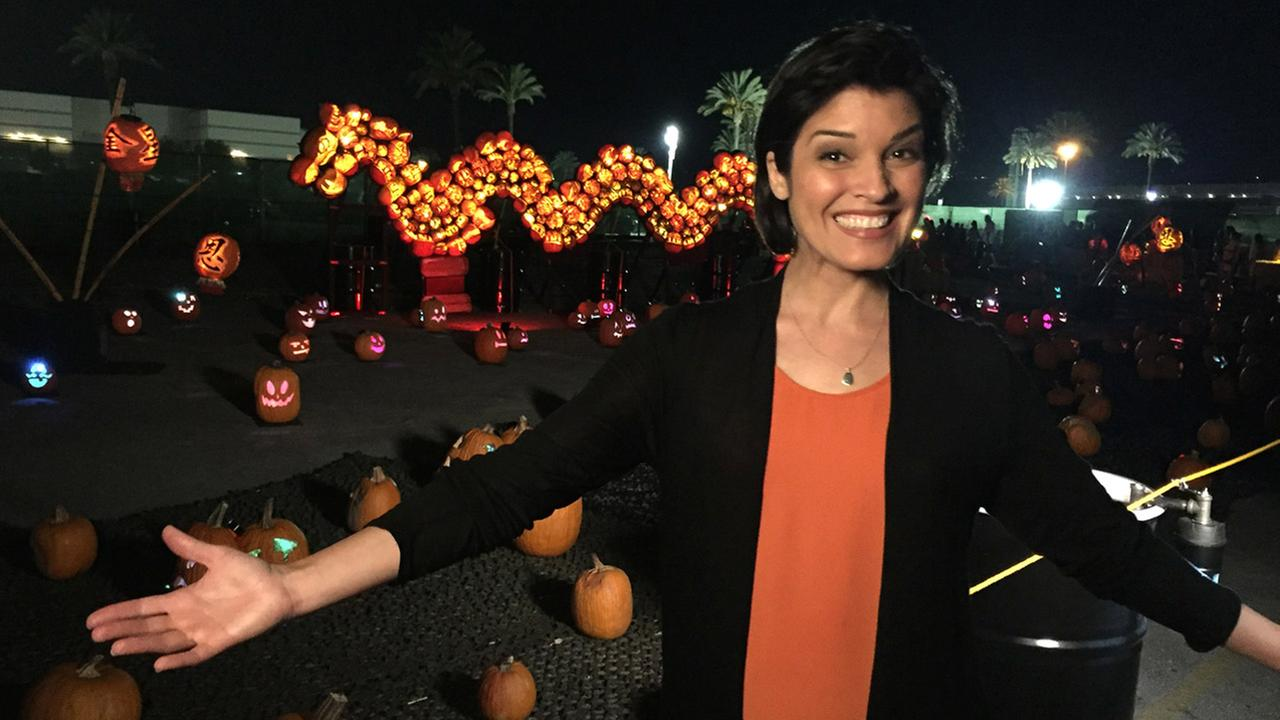 Tina Malava gets festive at the Rise of the Jack-O-Lanterns, located in Santa Anita Park in Arcadia.