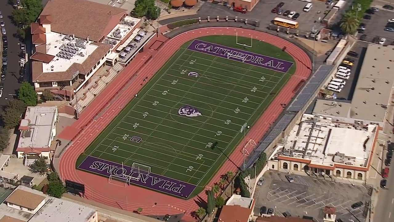 AIR7-HD shot of Cathedral High Schools football field.