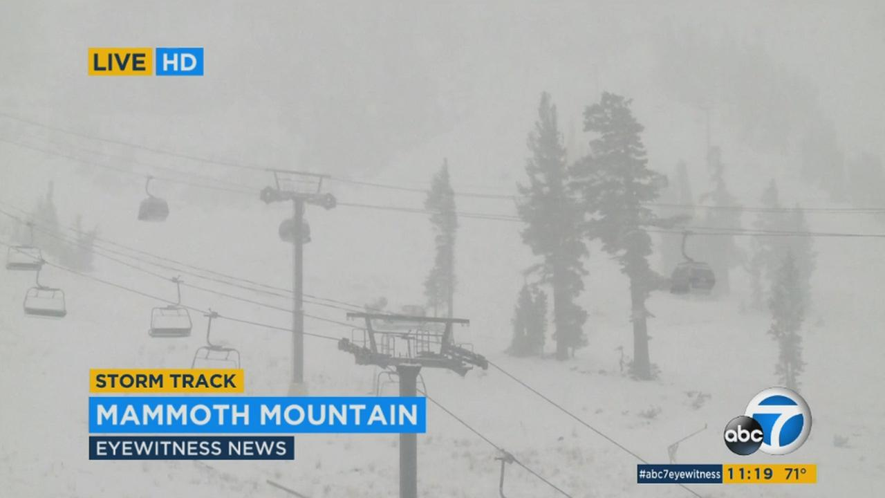 A storm brings snow to Mammoth Mountain on Monday, Nov. 2, 2015.