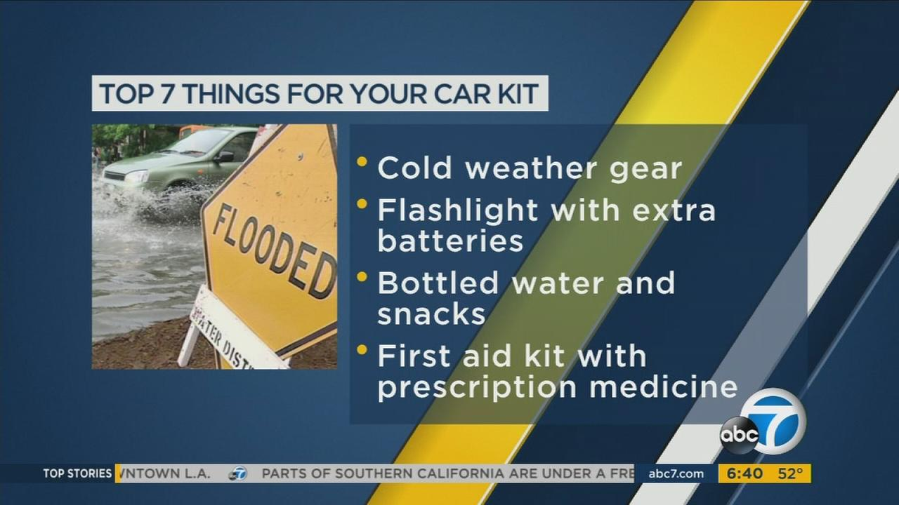 The Automobile Club of Southern California recommends keeping seven important items in your vehicle in case of El Nino-related roadside emergencies.
