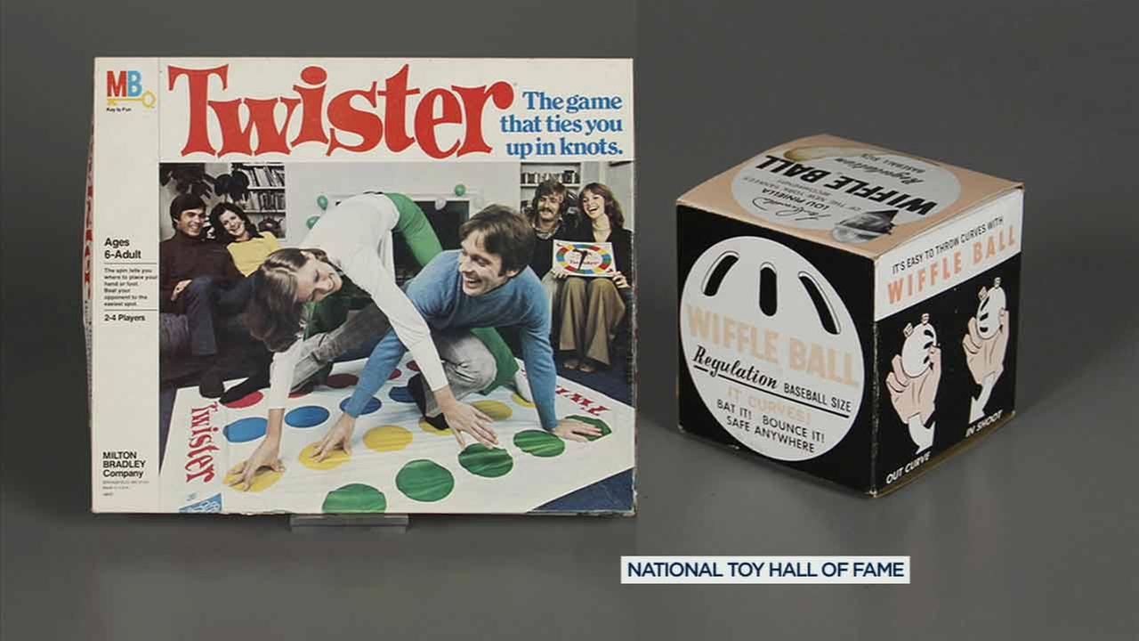 The Twister game and the Wiffle Ball are pictured in an undated photo.