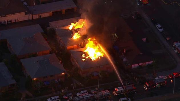 Fire erupts at 2 adjacent apartment buildings in Anaheim; 40 displaced