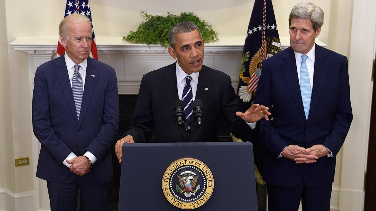 President Barack Obama, accompanied by Vice President Joe Biden and Secretary of State John Kerry, announces hes rejecting the Keystone XL pipeline on Nov. 6, 2015.