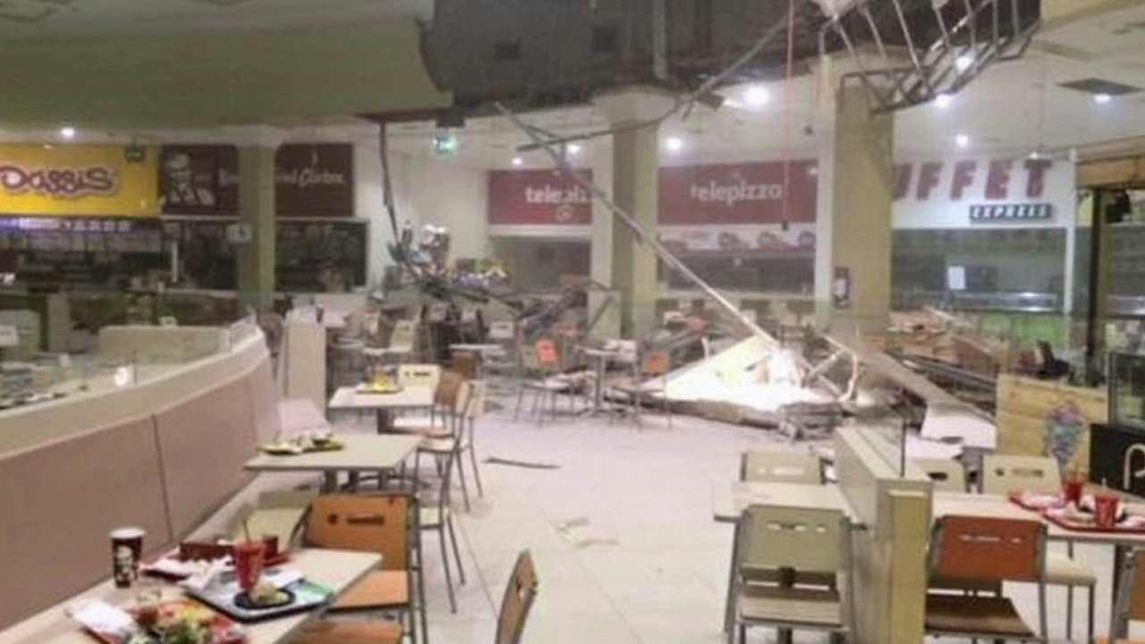 Debris is scattered on the floor of a food court in north-central Chile after a magnitude-6.8 earthquake struck the area Saturday, Nov. 7, 2015.