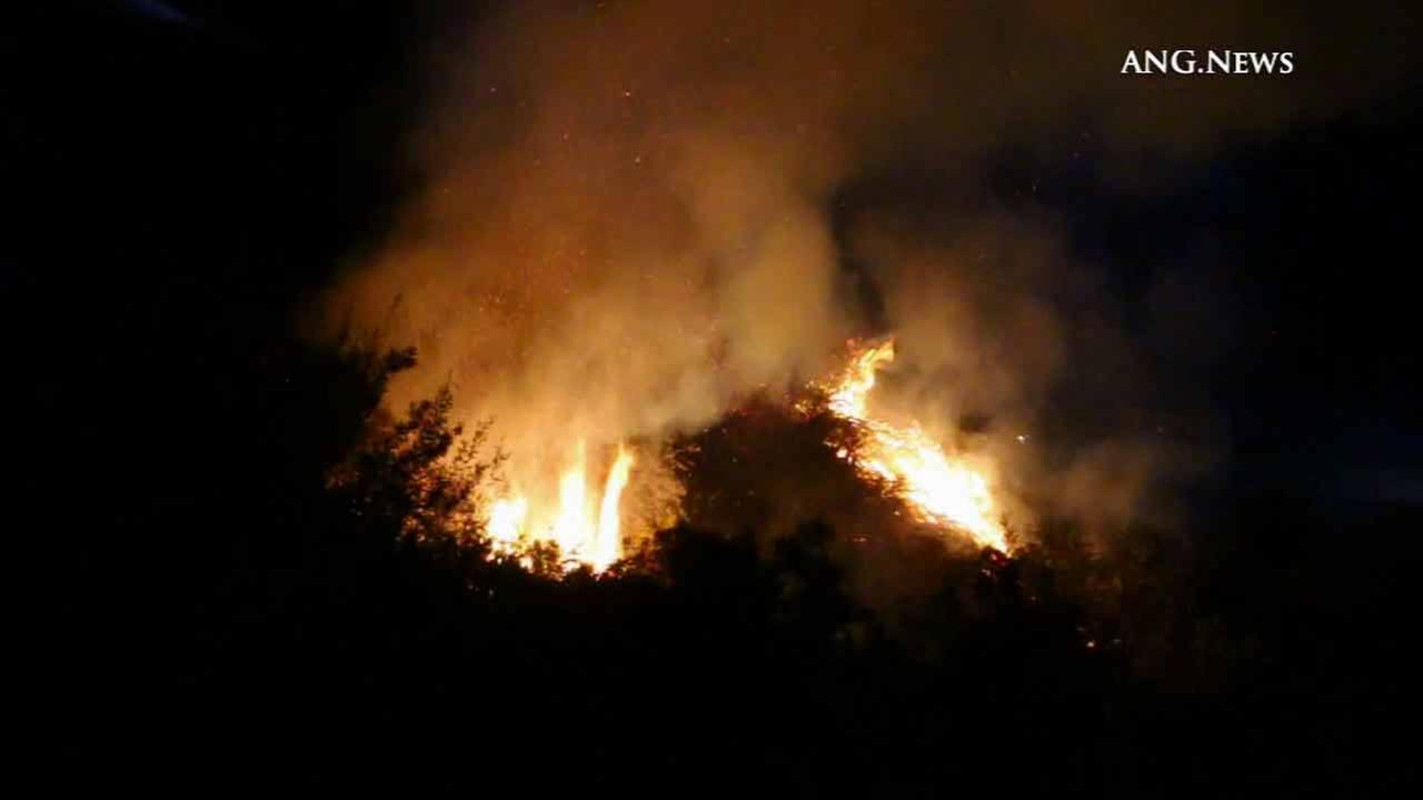 Flames scorch through vegetation in Pacific Palisades Sunday, Nov. 8, 2015.