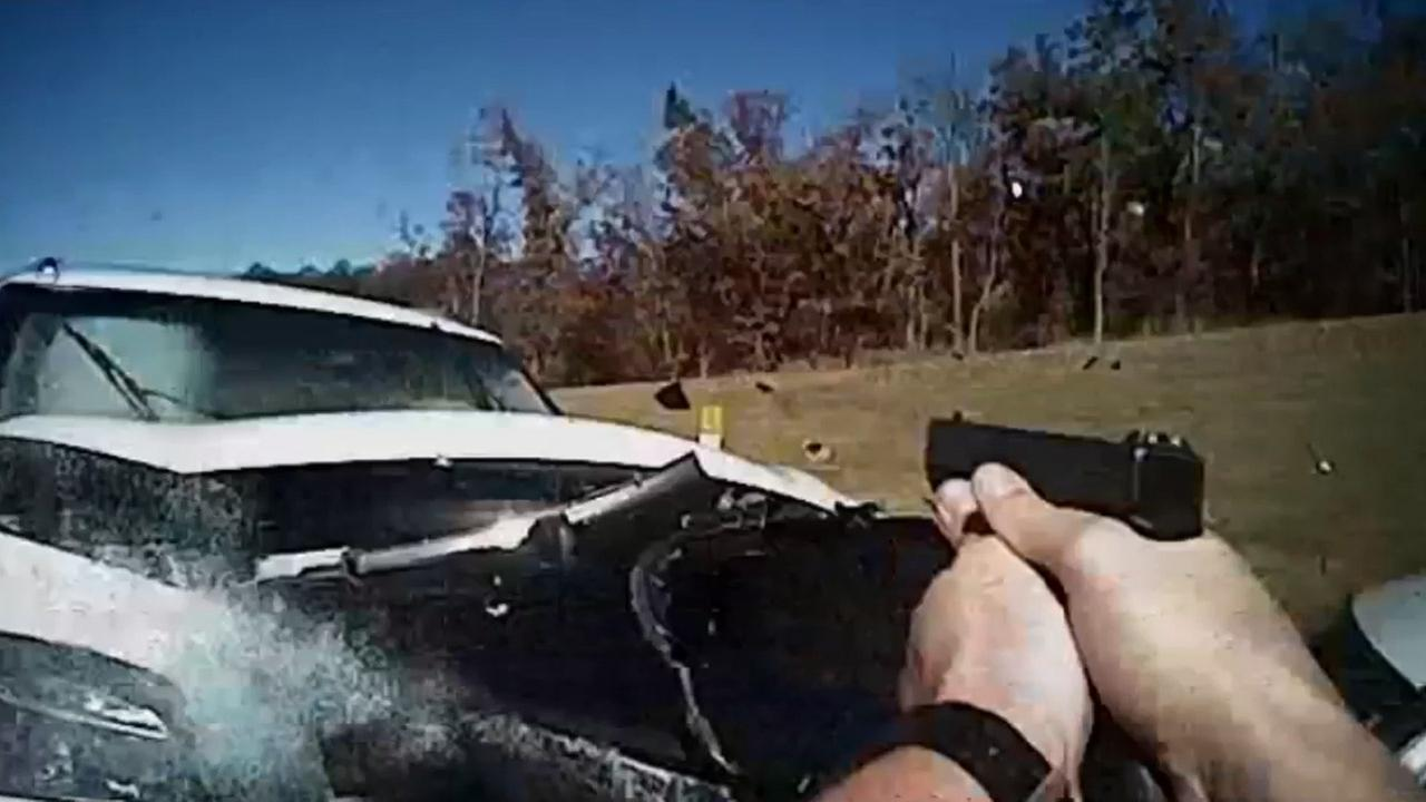 An Oklahoma police officers body camera captures the moment when a chase suspect rams her car into his cruiser on Friday, Nov. 6, 2015.