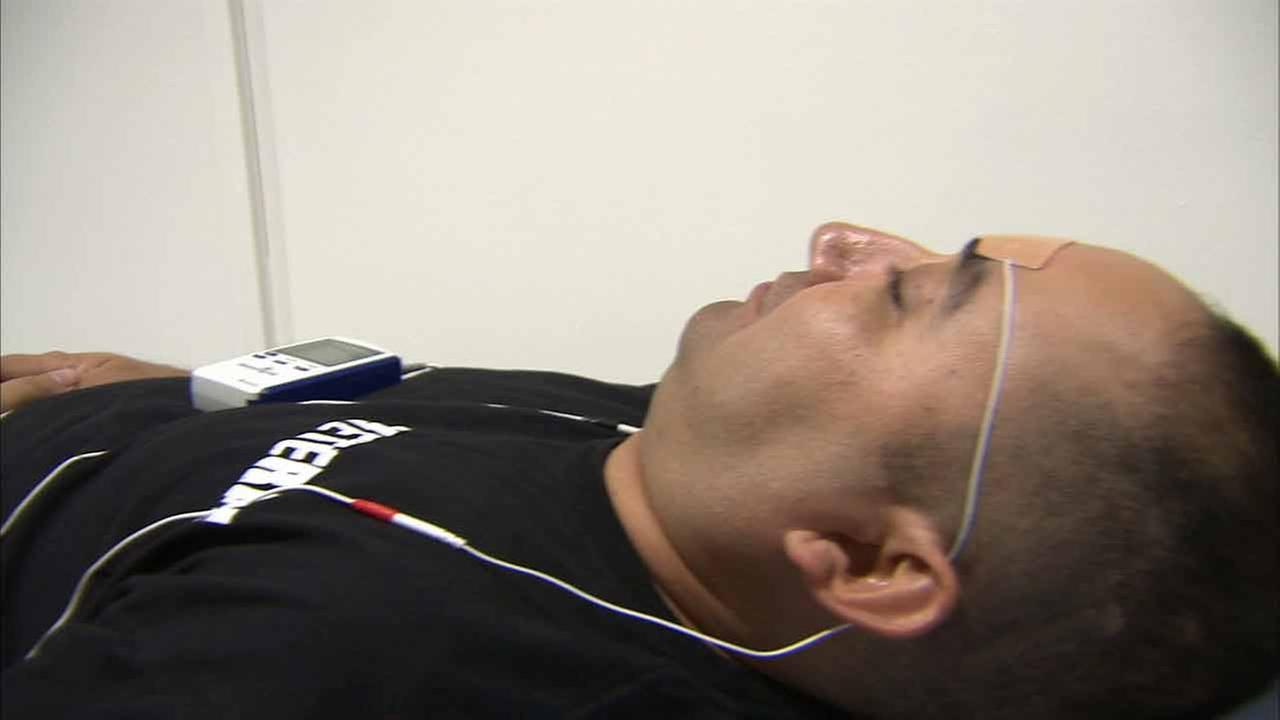 An Army veteran uses a new TNS therapy device to help with post-traumatic stress disorder.