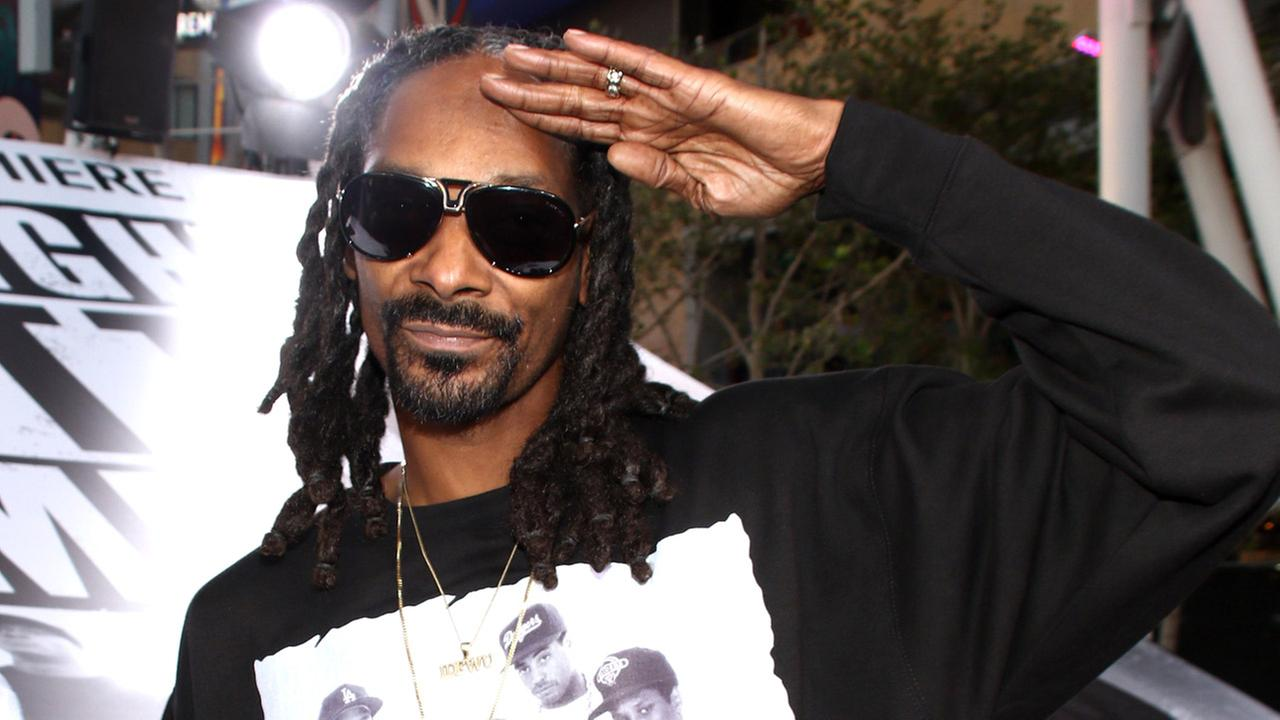 Snoop Dogg arrives at the Los Angeles premiere of Straight Outta Compton at the Microsoft Theater on Monday, Aug. 10, 2015.