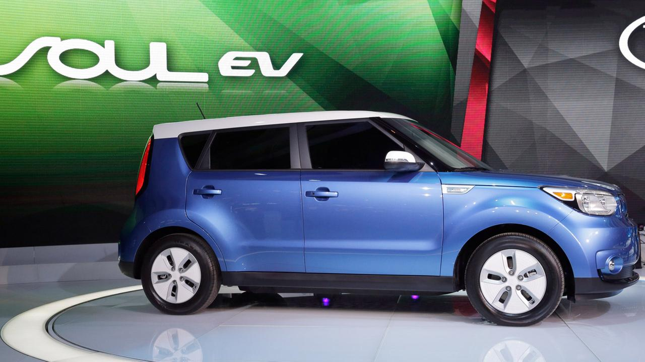 In this Feb. 6, 2014 file photo, Kia introduces the Soul EV at the Chicago Auto Show in Chicago.
