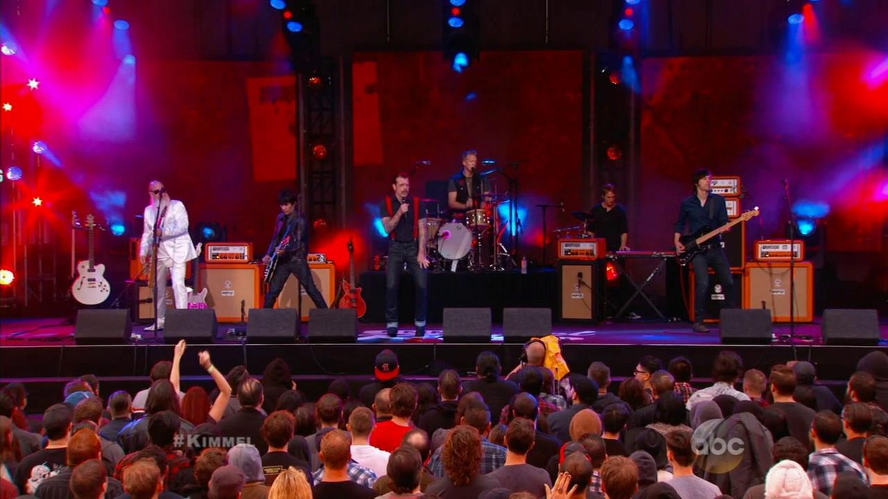 Palm Desert, California-based band Eagles of Death Metal performs on Jimmy Kimmel Live! on Oct. 5, 2015.