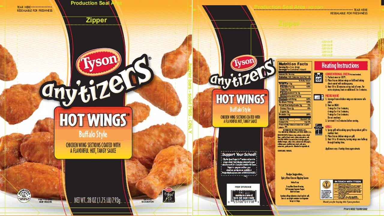 Tyson Foods Inc. is recalling more than 52,000 pounds of chicken wings after customers complained that they had a bad odor.