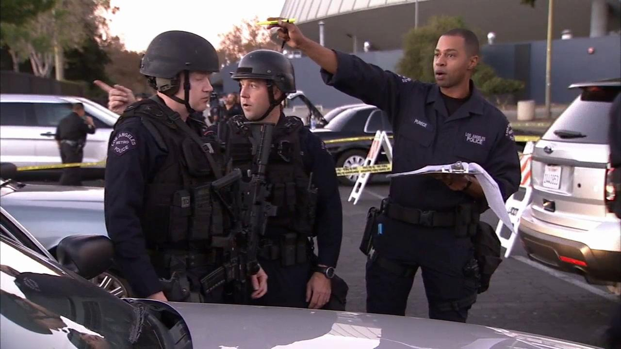 The Los Angeles Police Department conducted a live anti-terror drill in Exposition Park on Thursday, Nov. 19, 2015.