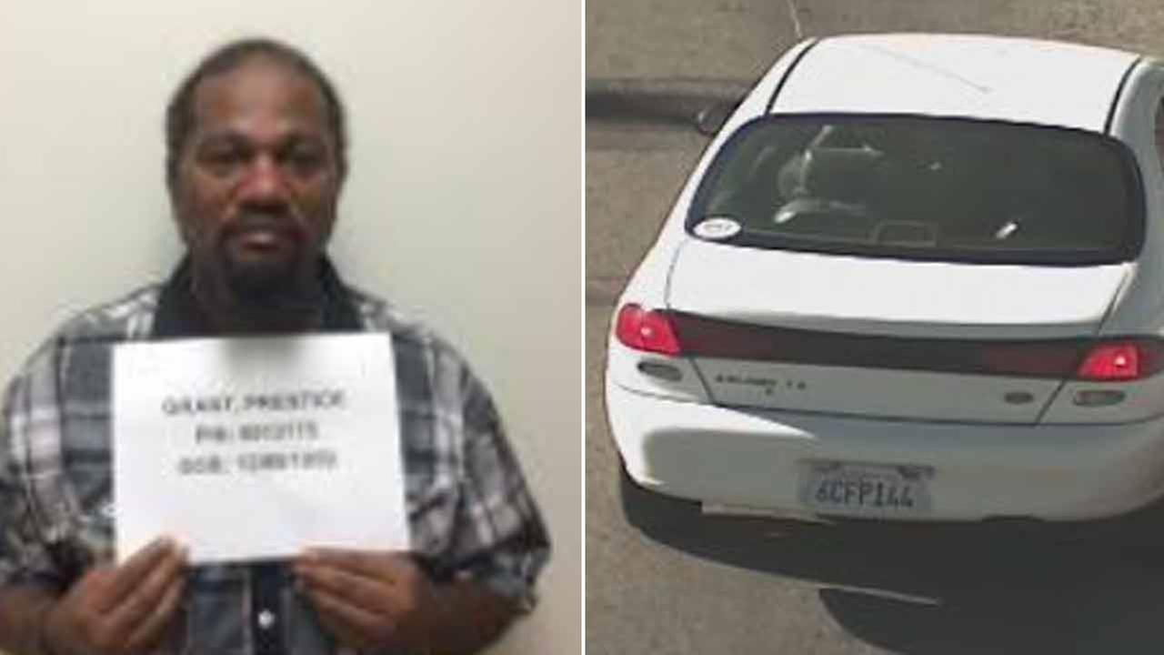Person of interest Prentice Tonell Grant, 55, is seen in an undated photo (left). He was believed to be seen in a 1998 white Ford Escort with license plate #6CFP144 (right).