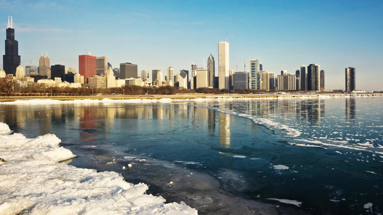 An image of downtown Chicago in the winter is shown.