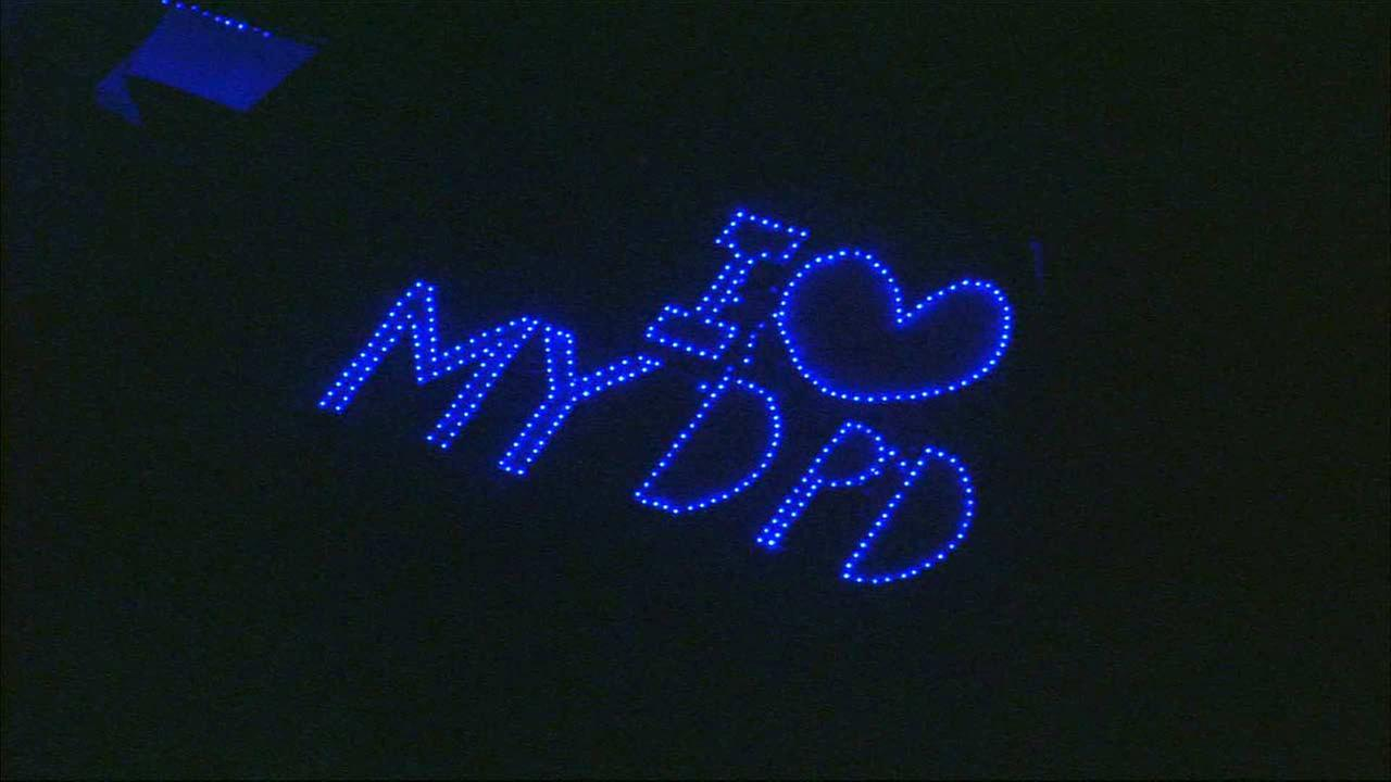 A lit-up sign created by Downey resident Michael Chirco for the Downey Police Department Saturday, Nov. 21, 2015.