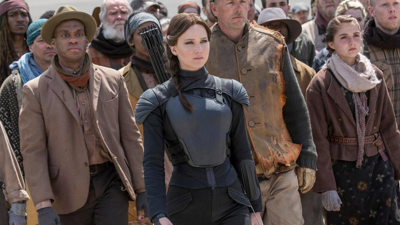 Katniss Everdeen, played by Jennifer Lawrence, is shown in a still from The Hunger Games franchises final movie Mockingjay - Part 2.
