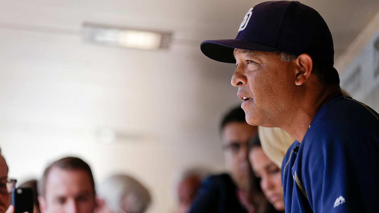Dave Roberts speaks to reporters in dugout on June 15, 2015.