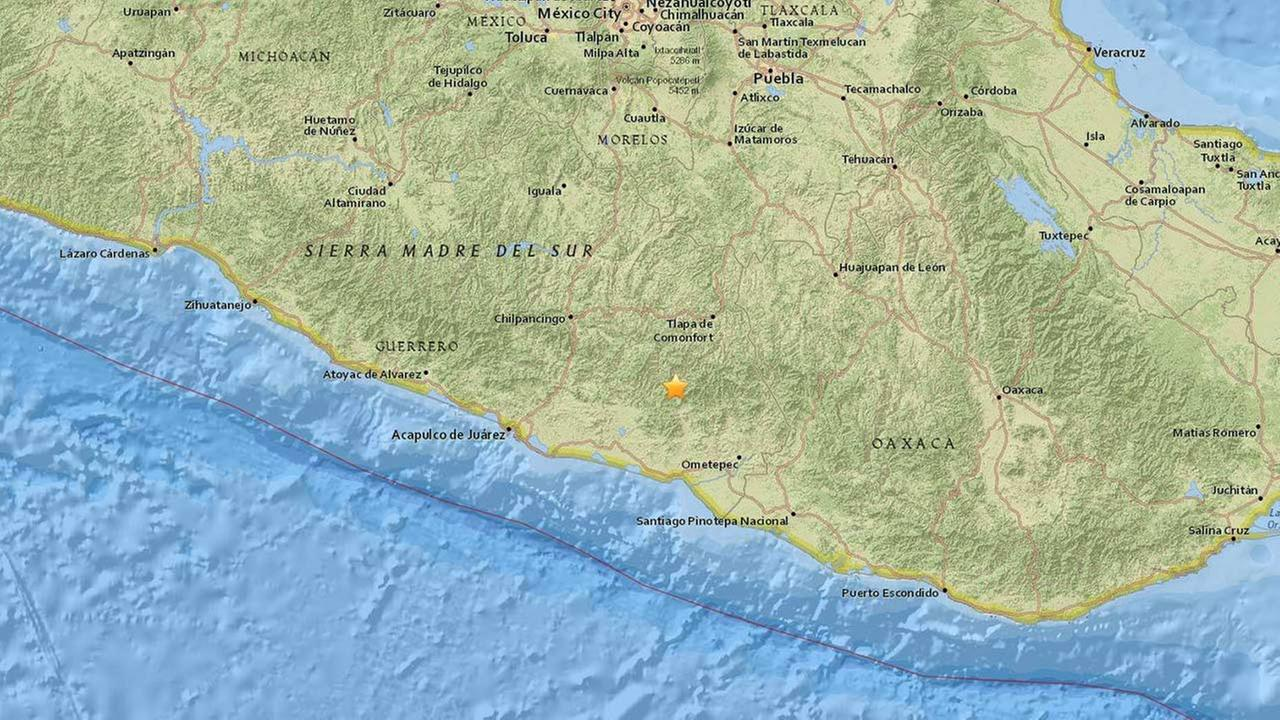 A preliminary 5.5 earthquake struck 21 miles north northwest of San Luis Acatlan, Mexico on Monday, Nov. 23, 2015.