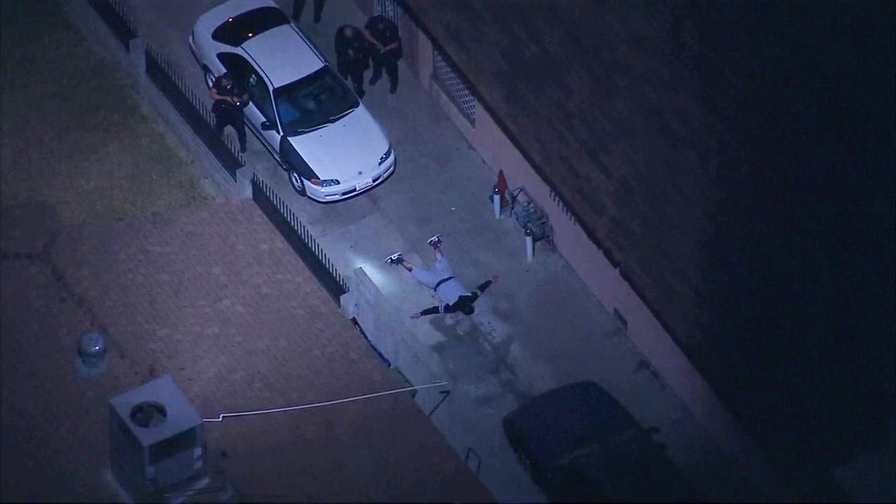 Police pursued a possible shooting suspect in wild chase that ended in Glassell Park on Tuesday, Nov. 24, 2015.