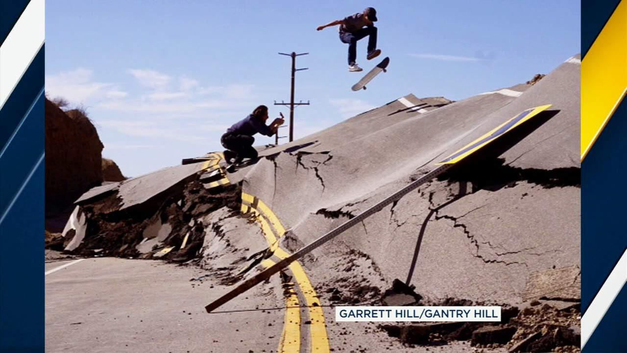 The stretch of Vasquez Canyon Road that severely buckled after a landslide in Santa Clarita is attracting skateboarders looking for a challenge.