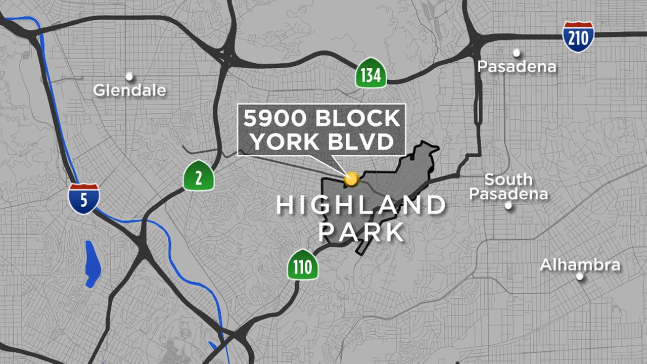 A map shows the location where a man attacked a woman and tried to sexually assault her in Highland Park on Thursday, Nov. 26, 2015.