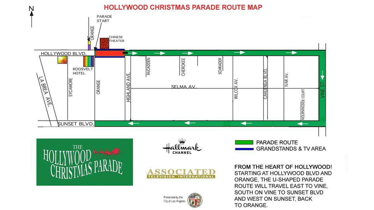 A map of the Hollywood Christmas Parade route from the event website.