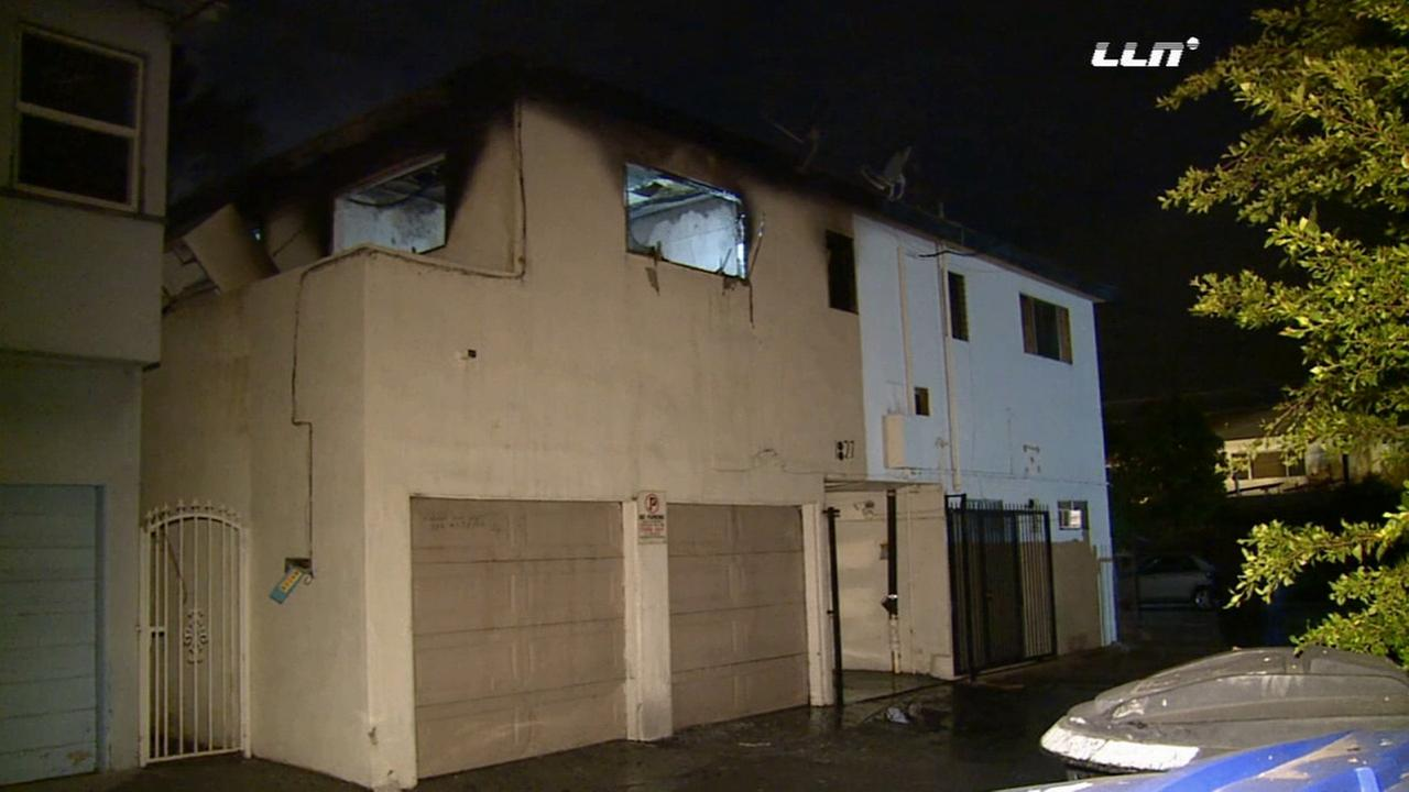An explosion destroyed an apartment unit in a Santa Monica building on Sunday, Nov. 29, 2015.