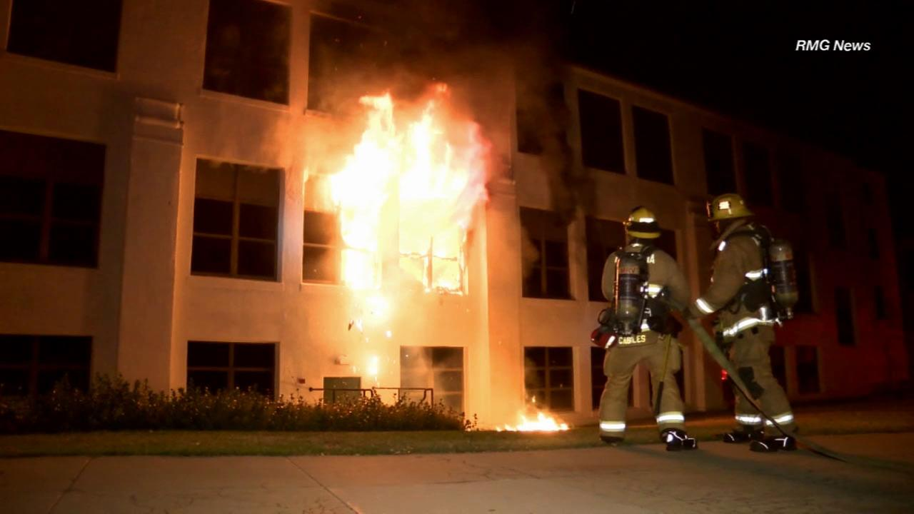A three-alarm fire broke out at Monrovia High School on Monday, Nov. 30, 2015.