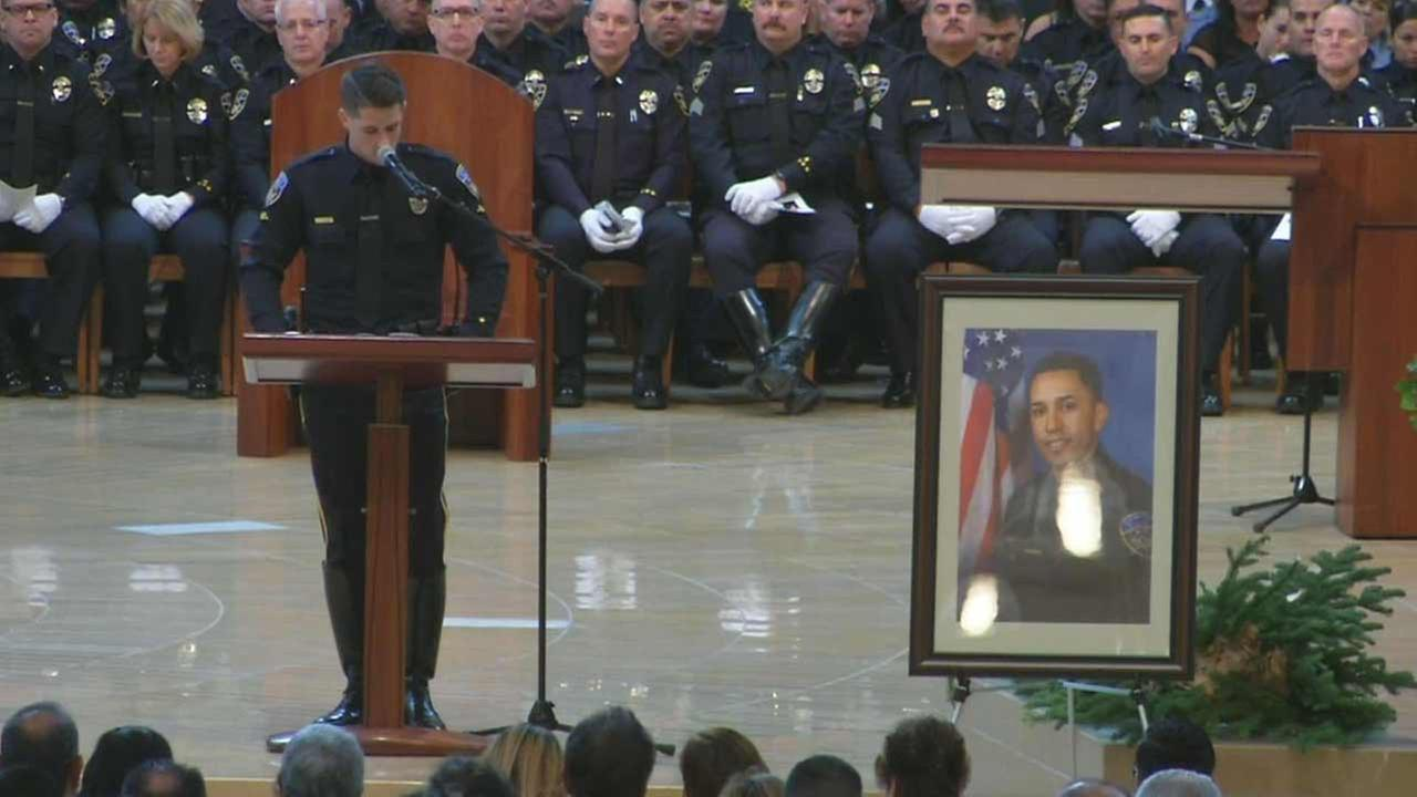 A funeral service was held for Downey police Officer Ricardo Galvez at Cathedral of Our Lady of the Angels in downtown Los Angeles on Monday, Nov. 30, 2015.