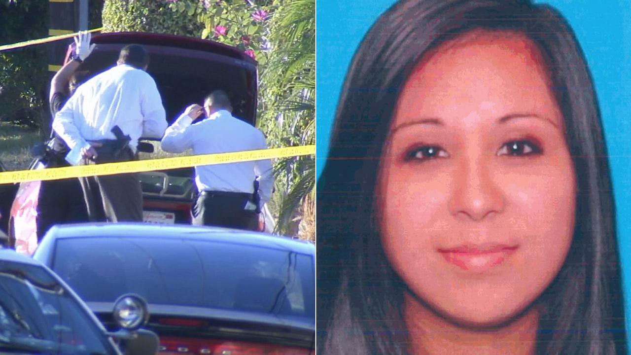 (L) Detectives investigate a body found in a Toyota near Whittier on Nov. 29, 2015. (R) Dawn McEveety is seen in a photo from the California Department of Motor Vehicles.
