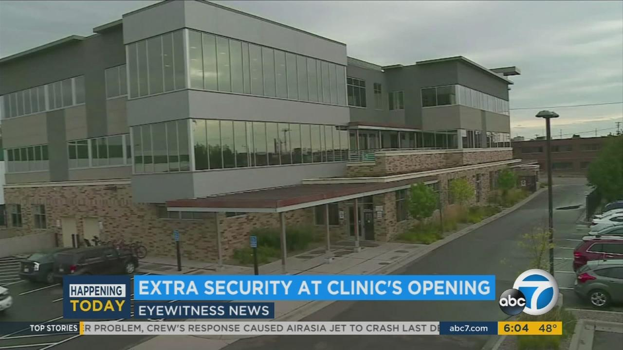 A new Planned Parenthood clinic opened its doors in West Hollywood Tuesday, Dec. 1, 2015 under extra security following last weeks rampage in Colorado Springs.