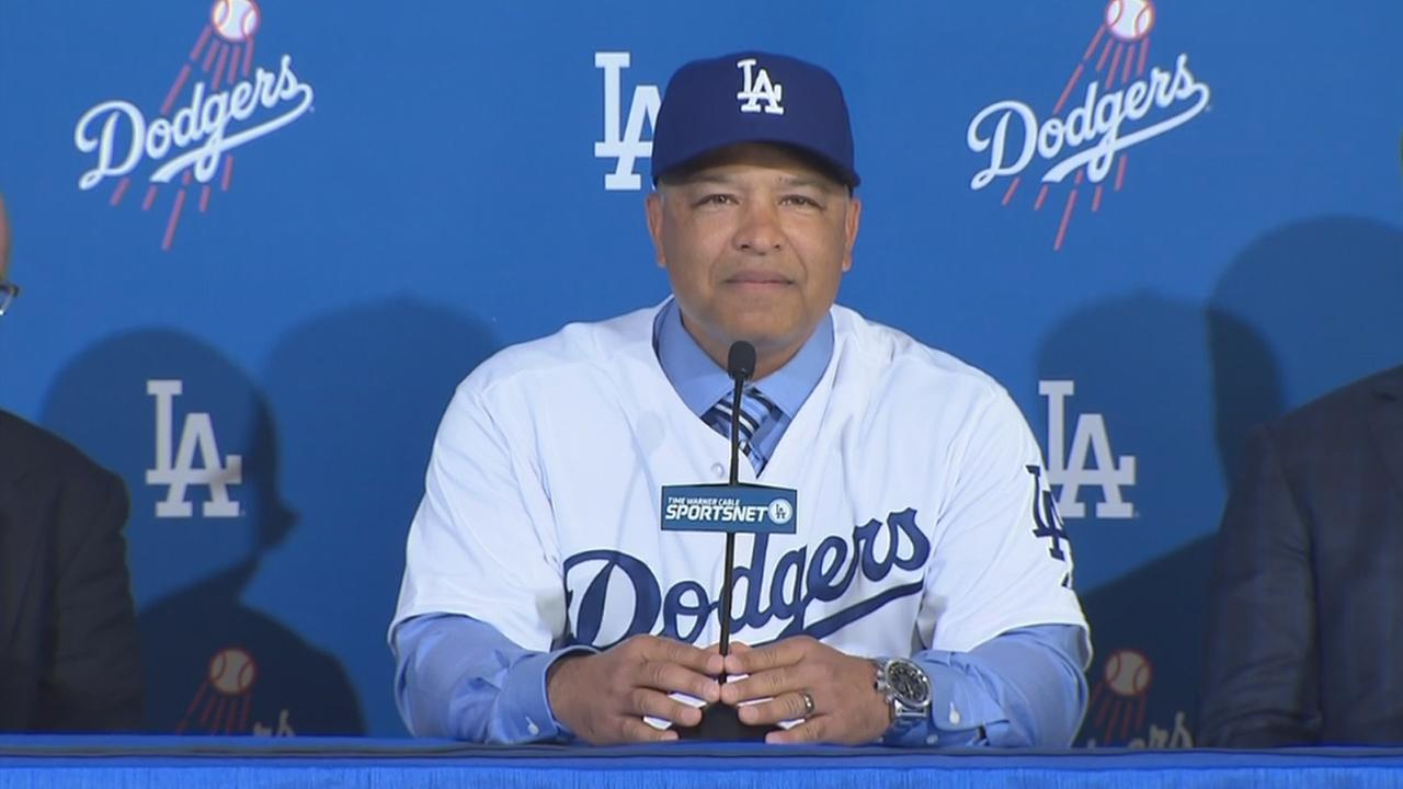 Dave Roberts speaks at a news conference on Tuesday, Dec. 1, 2015, where he was formally introduced as the 10th manager of the Los Angeles Dodgers.