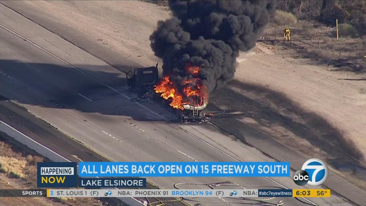 A tanker truck carrying 8,700 gallons of fuel caught fire on the southbound 15 Freeway north of Nichols Road in Lake Elsinore on Tuesday, Dec. 1, 2015.