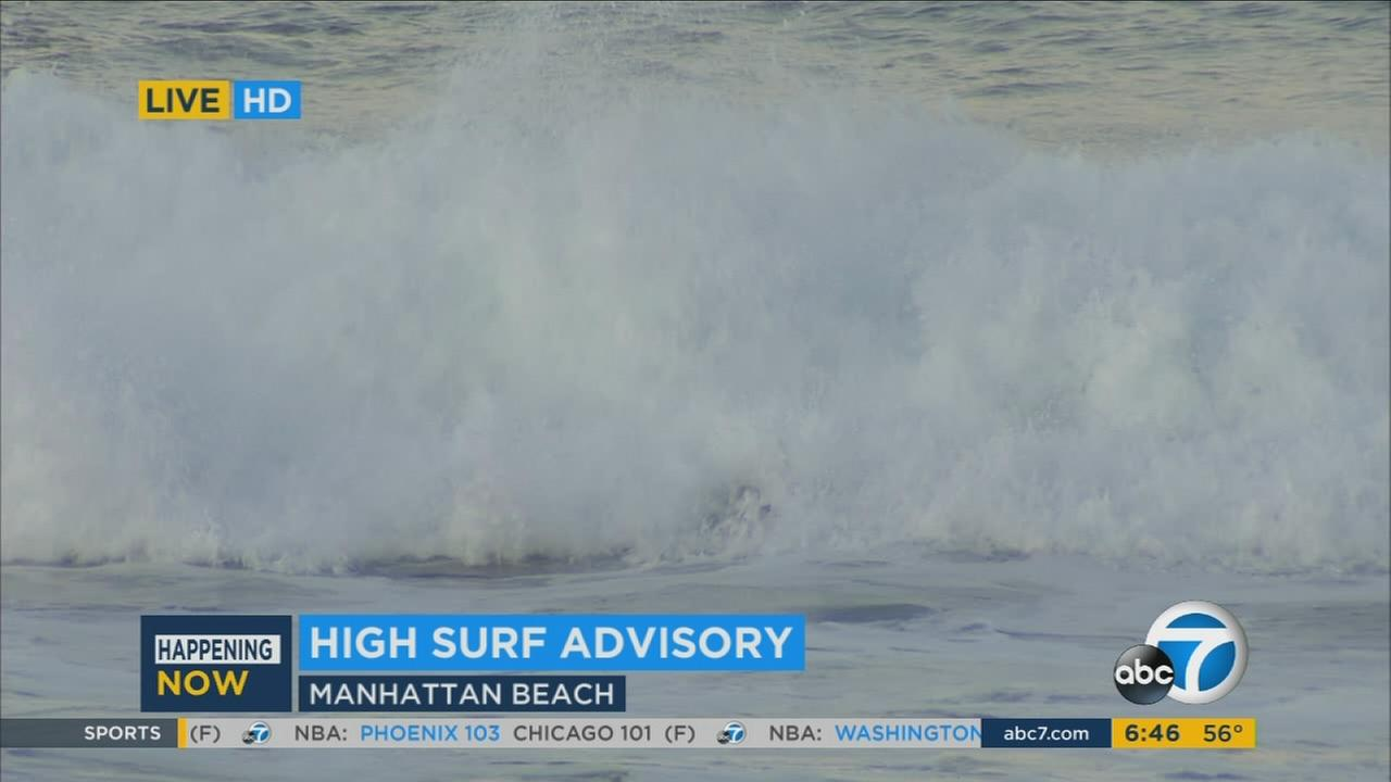 A high surf advisory is in effect along Southern California beaches until 6 p.m. Tuesday, Dec. 8, 2015 due to dangerous rip currents and waves.