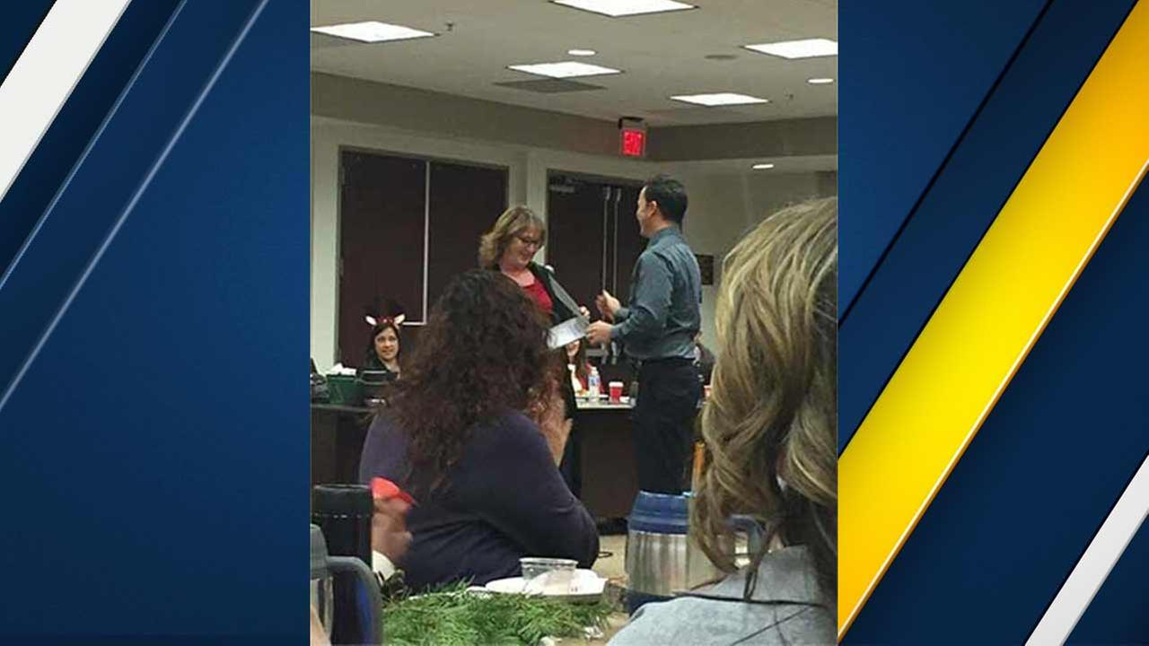 A photo provided to ABC News by shooting survivor Julie Paez captures the atmosphere inside the conference room at the Inland Regional Center before the San Bernardino shooting.