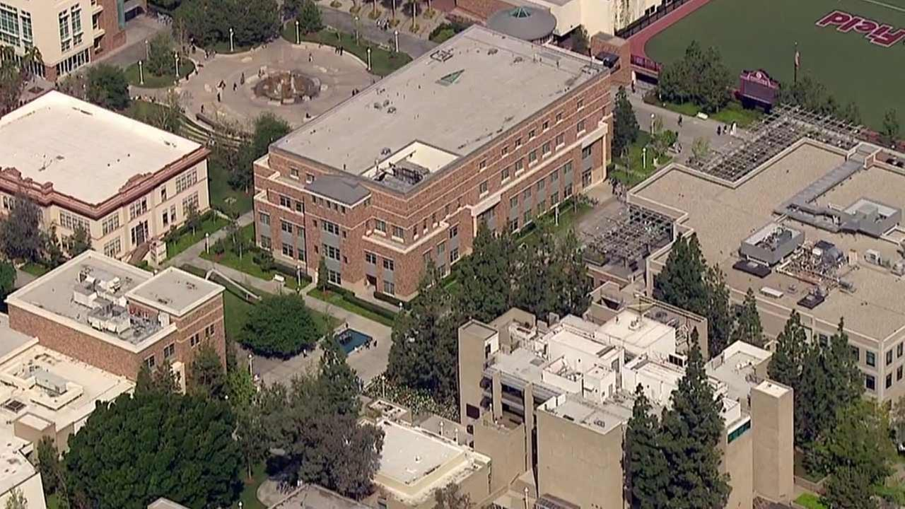 An aerial view provided by AIR7 HD of Chapman University at 1 University Drive in Orange.