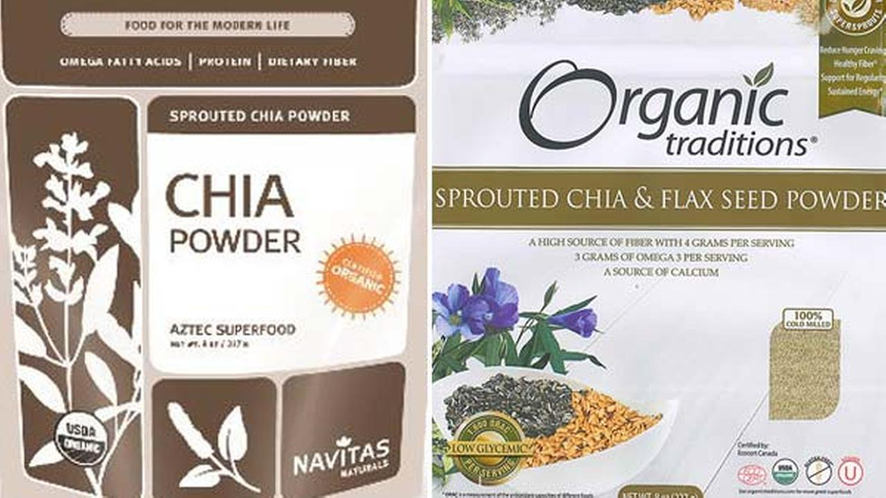 Navitas Naturals and Organic Traditions are among several brands that have issued recalls for their chia powder after a recent salmonella outbreak, according to the CDC.