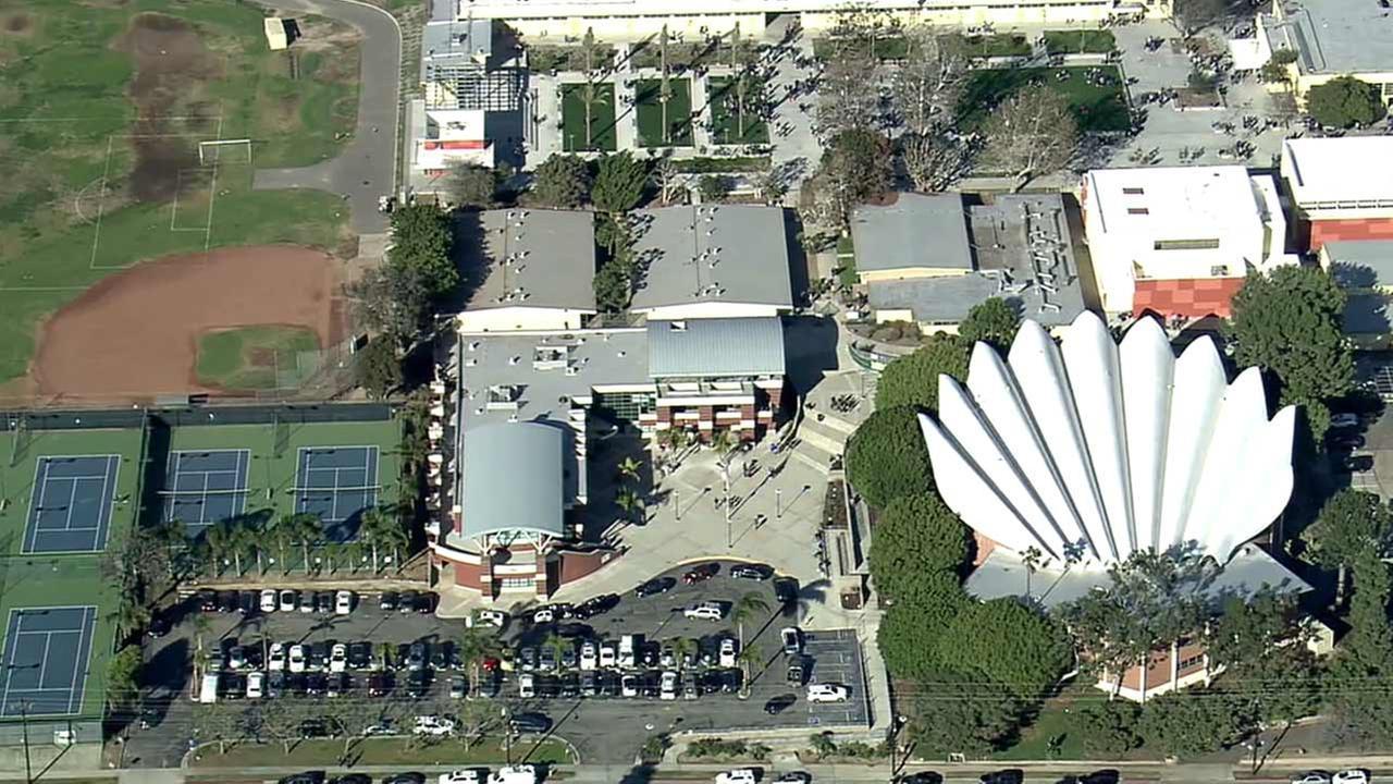 An aerial view provided by AIR7 HD of Mira Costa High School in the 1400 block of Artesia Boulevard in Manhattan Beach.