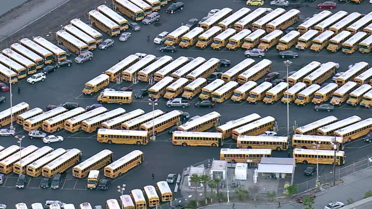 Los Angeles Unified School District school bus depot in Gardena, California.