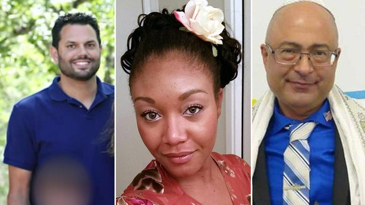 Michael Wetzel, 37 (left), Sierra Clayborn, 27 (center), and Nicholas Thalasinos, 57 (right), are shown in undated photos.