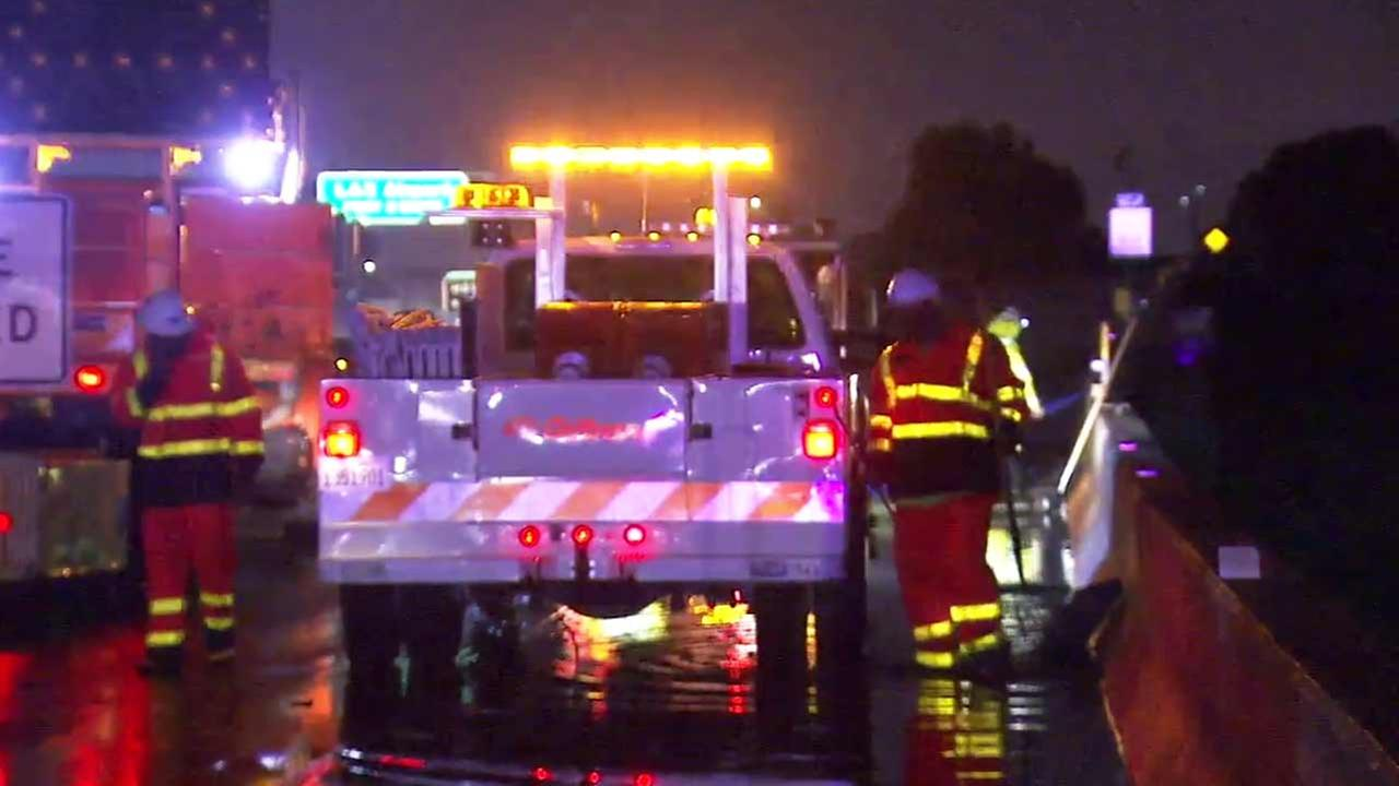 The eastbound and westbound connectors from the northbound 405 Freeway to the 105 Freeway were temporarily closed Tuesday, Dec. 22, 2015 due to flooding.