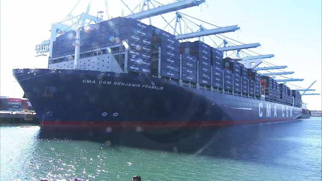 The CMA CGM Benjamin Franklin ship arriving at the Port of L.A. on Saturday, Dec. 26, 2015.