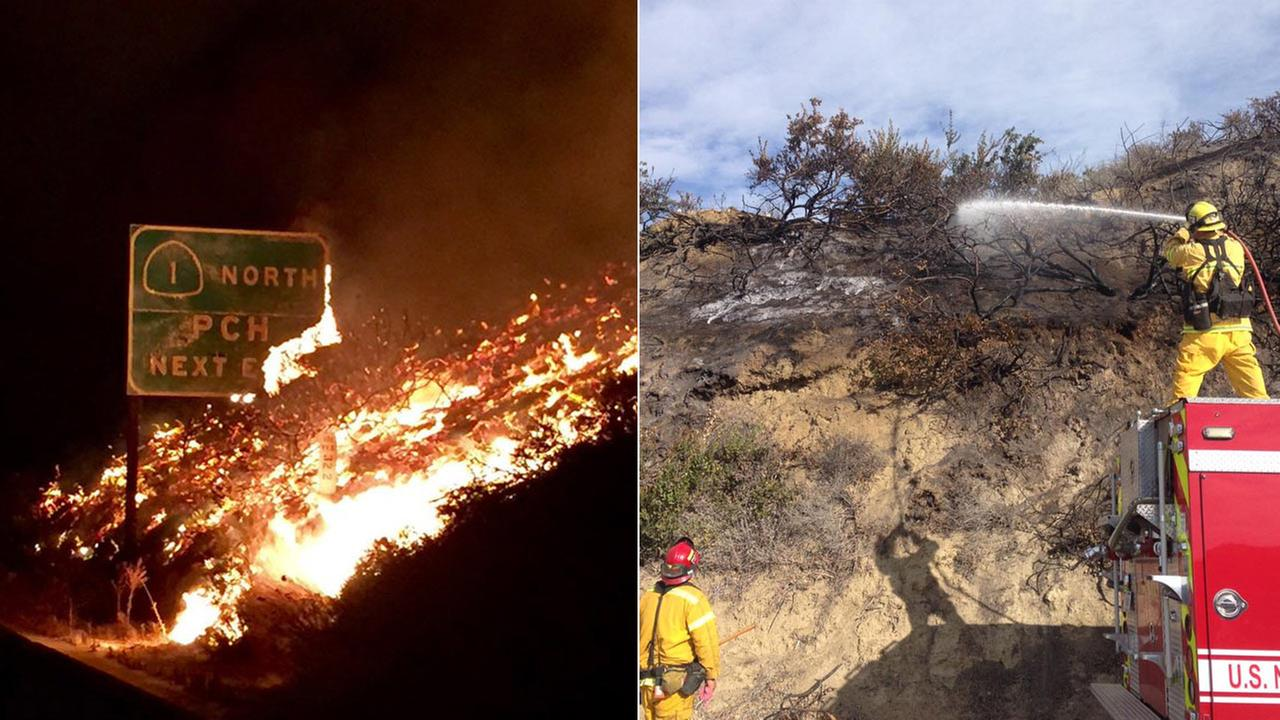 (Right) Firefighters douse hot spots remaining from the wind-whipped brushfire that broke out at Solimar Beach. (Left) A road sign for the PCH burns during a brushfire in Ventura.