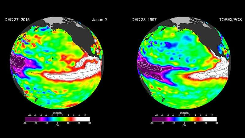 A satellite shows an image of the ocean warming because of El Nino on Tuesday, Dec. 29, 2015, alongside a similar image taken in 1997.