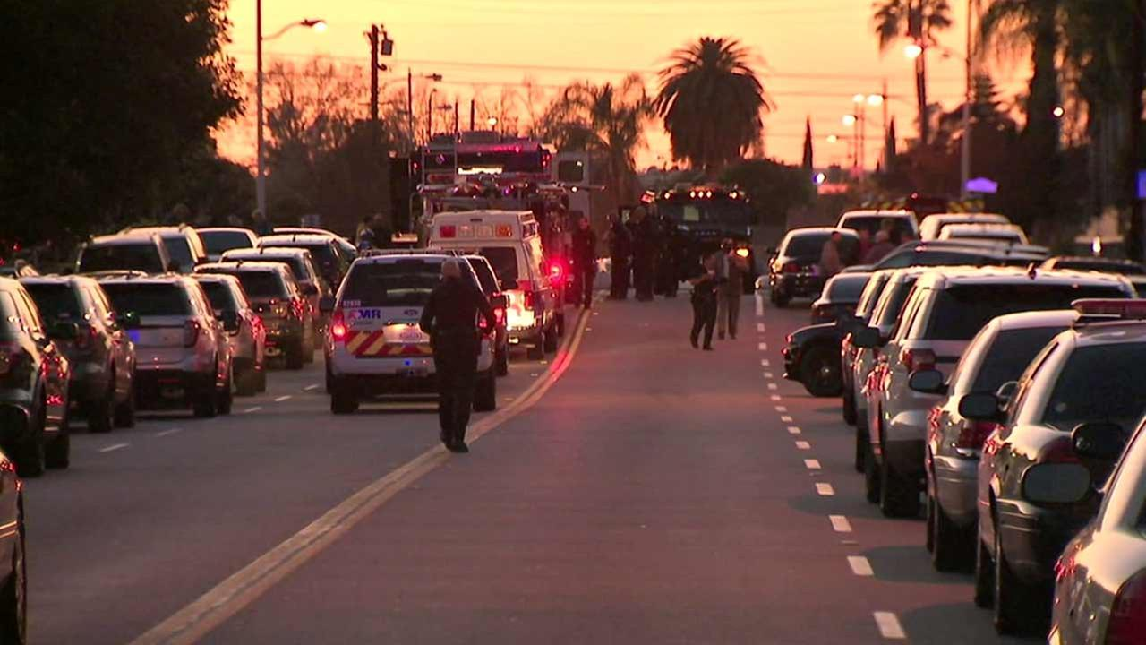 Los Angeles police shot and killed an alleged murder suspect following an hours-long standoff in the 3500 block of Strang Avenue in Rosemead on Tuesday, Dec. 29, 2015.