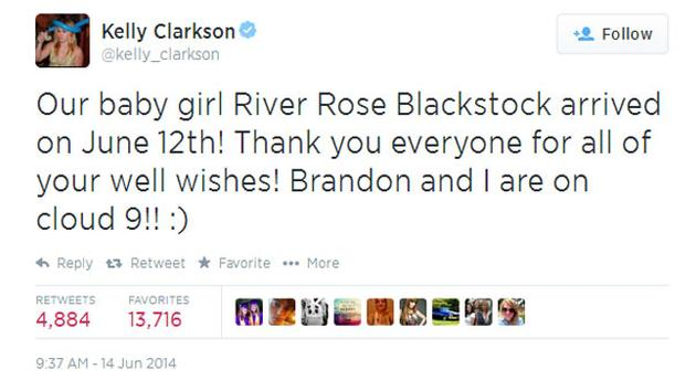 Kelly Clarkson tweeted about her daughter's birth on Saturday, June 14, 2014.