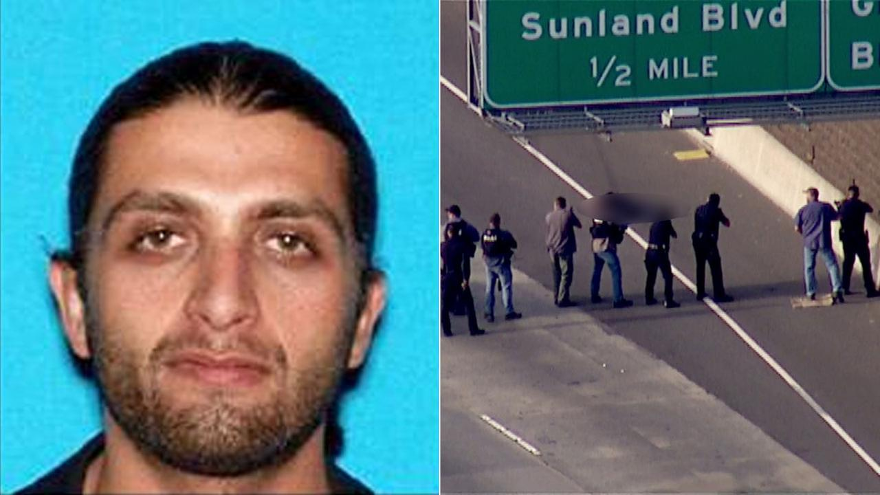 (Left) Artyom Gasparyan is seen in a photo released by LAPD. (Right) The suspect is wounded following a police chase on the 5 North on Monday, Jan. 4, 2016.